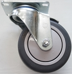 4 Inch Soft Tread Wheel and Swivel Caster with Top Plate